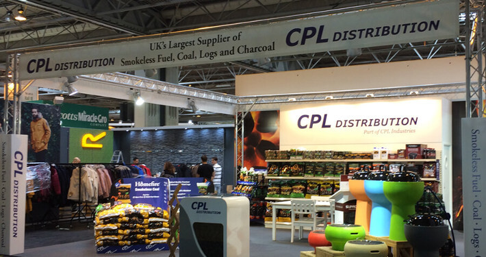 Exhibition stand build using lighting truss
