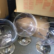 Set of 3 clear plastic bubble chairs