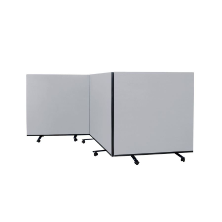 3 panel mobile office screens - 1200mm high - Grey