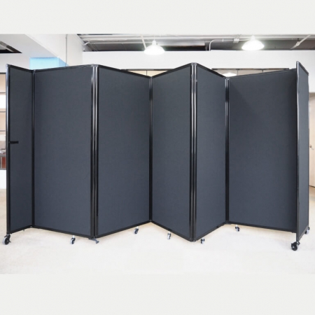 5 panel 360 acoustic room dividers - Black