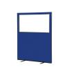 1200 (w) x 1500 (h) glazed office screen - Blue Woolmix