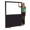 1500mm (w) x 1800mm (h) Glazed office screen - Black Woolmix
