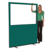 1500mm (w) x 1800mm (h) Glazed office screen - Green Woolmix