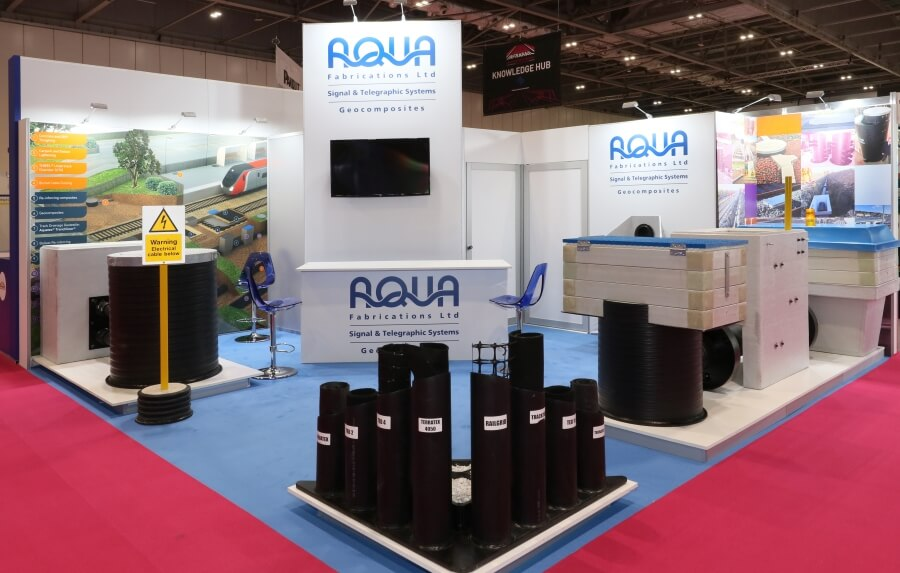 6m x 6m exhibition stand at Infrarail - Aqua Fabrications