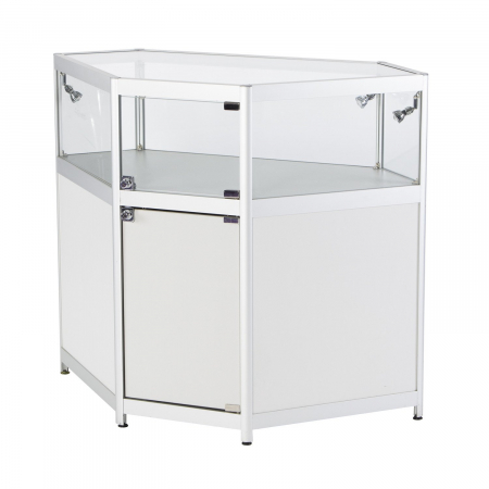 LC03 glass corner display counter hire