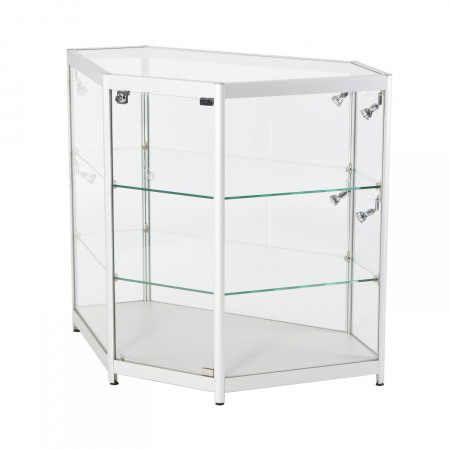 LC04 glass corner display counter hire