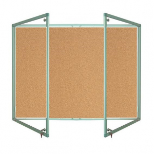Lockable cork notice board - Double door