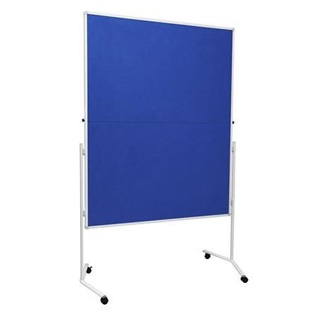 Mobile folding felt notice board - Blue