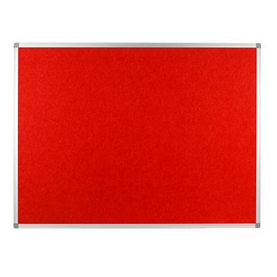 Polycolour notice board with aluminium frame - Red