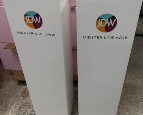 Square plinth hire with graphics