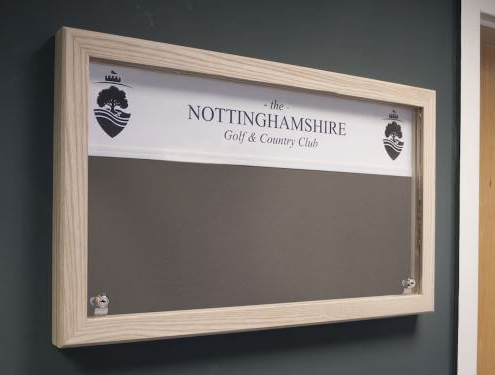 Custom lockable noticeboard for golf club