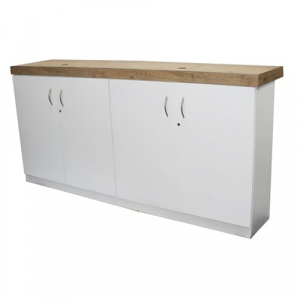 BS45 White Lockable Counter with Oak Finish for hire