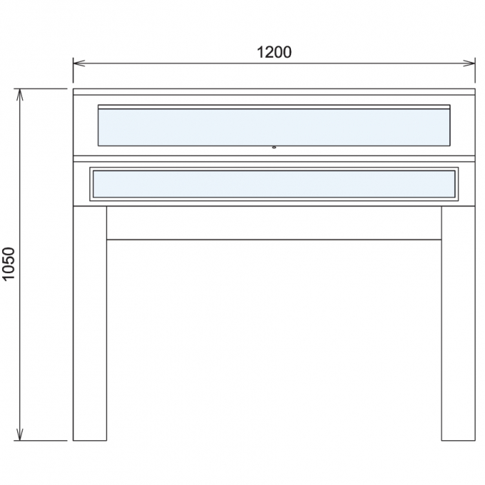 Wood Glass Display Cabinet CAD Drawing - 10