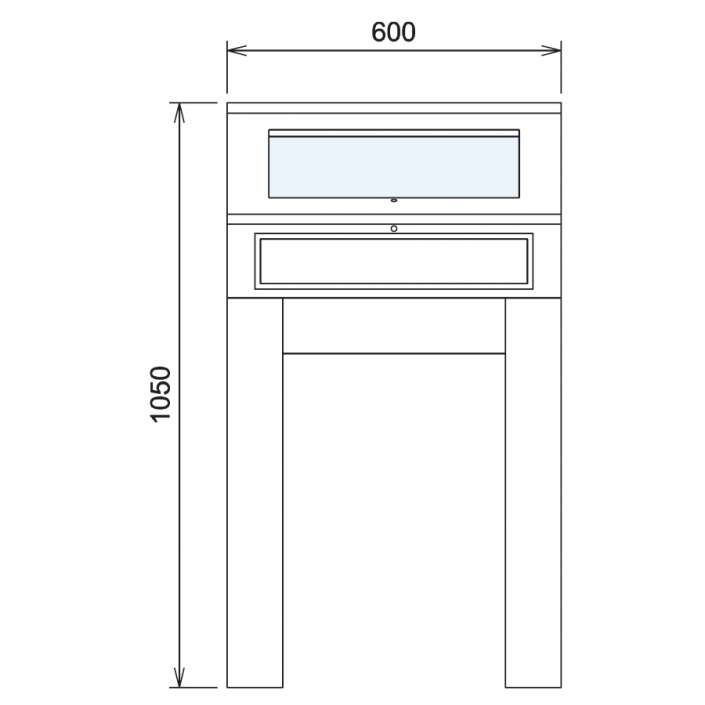Wood Glass Display Cabinet CAD Drawing - 7