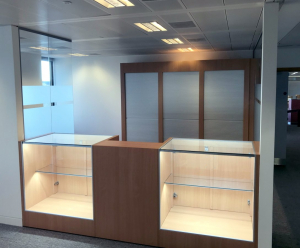 Wood reception desk with display counters