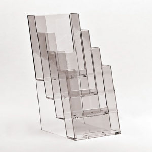 4x 1/3 A4 Stacked Clear Leaflet Holder