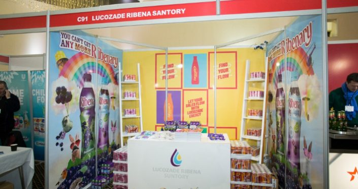 Lucozade shell scheme stand at London retail show