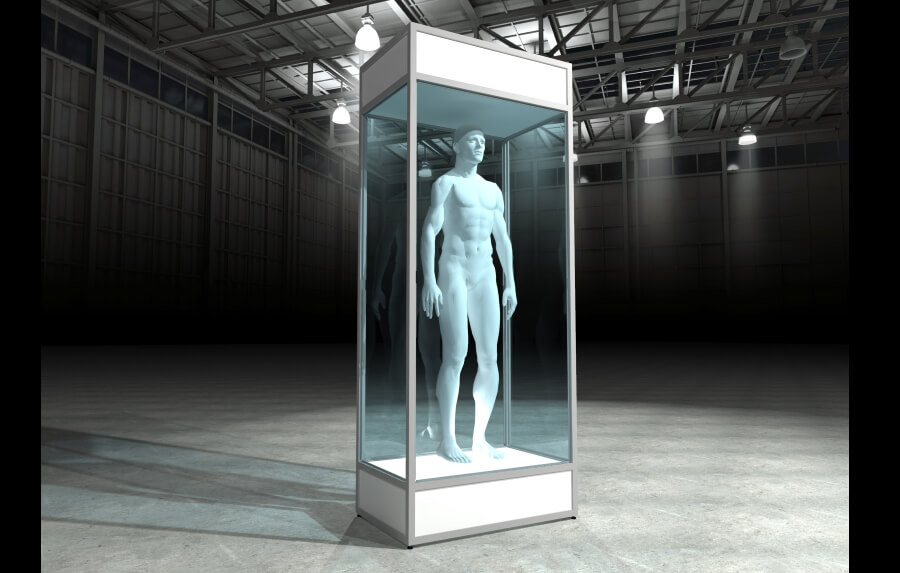 Mannequin display case in White