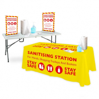 Folding Trestle Table Sanitising Station