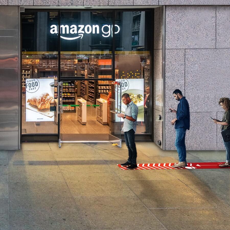 Floor graphics at shop entrance