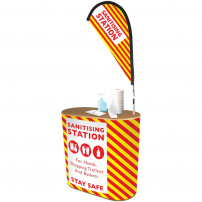 Double D Sanitising Station Counter with Flag
