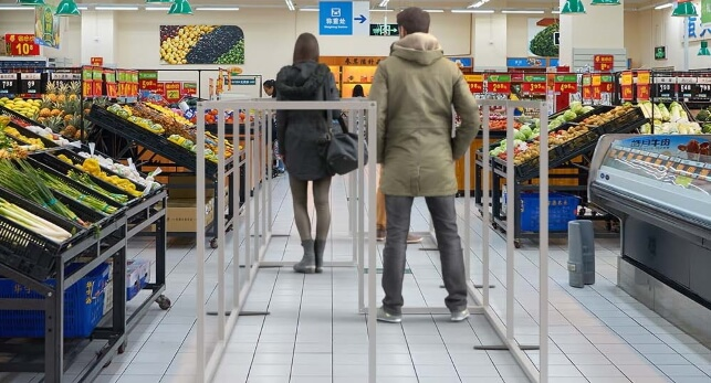 Social distancing in supermarket