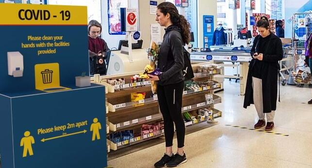 Supermarket handwashing station