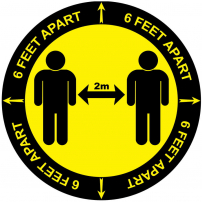 6 feet apart 2m floor sticker