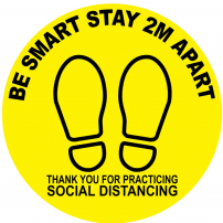 Be smart stay 2m apart thank you floor sticker