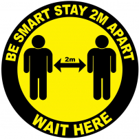 Be smart stay 2m apart wait here floor sticker