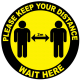 Please keep your distance wait here floor sticker