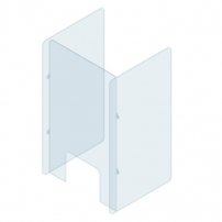 Plexiglass protection screen for desk or counter with side walls - 600 x 700mm