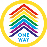 One Way Floor Sticker - Circle