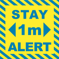 Stay Alert 1m Floor Stickers - Square