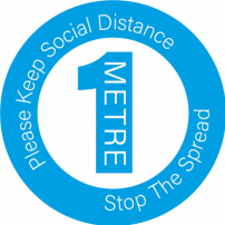 Please Keep Social Distance 1m Floor Stickers - Circle
