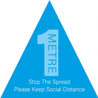Please Keep Social Distance 1m Floor Stickers - Triangle