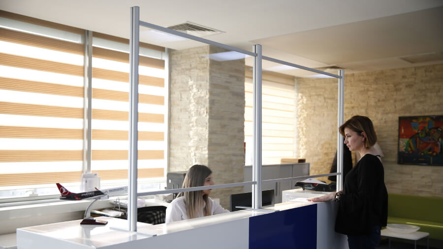 Reception counter protective screens 4