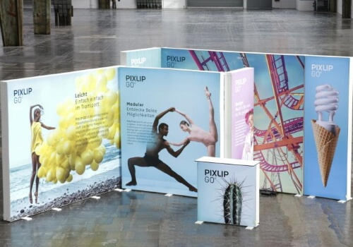 Double sided lightbox exhibition stand - - PIXLIP GO Lightbox Display