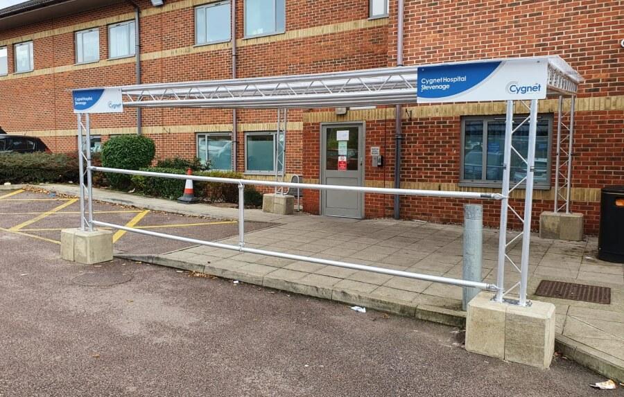 Entrance canopy for hospital